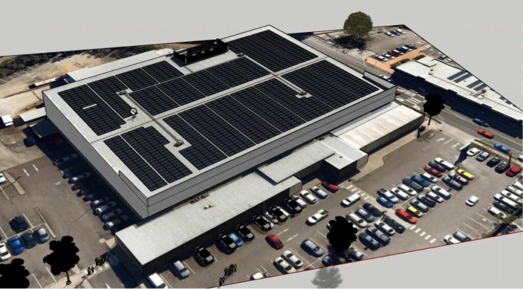 3D render of a commercial solar design